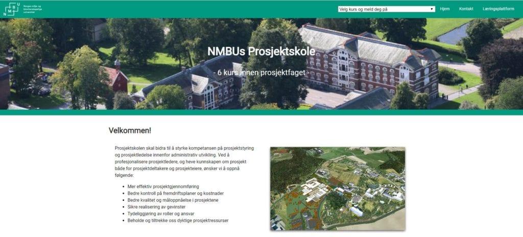 Skjermbilde av nettside NMBU sin prosjektskole